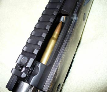 The NEW AI 308 Sled installed in Ruger Scout - Top View